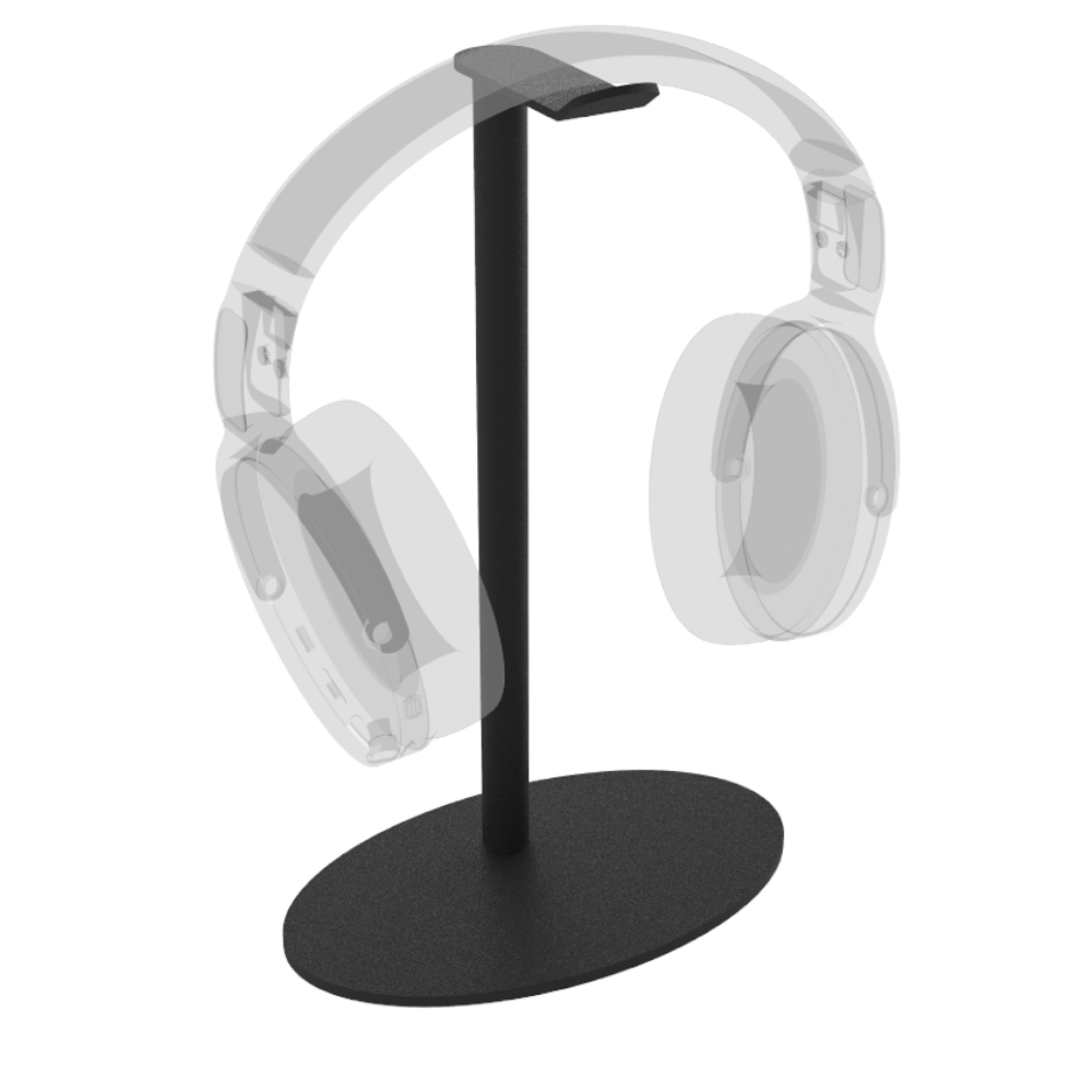 Hoofdtelefoon standaard Ellips – Trendy zwart staal