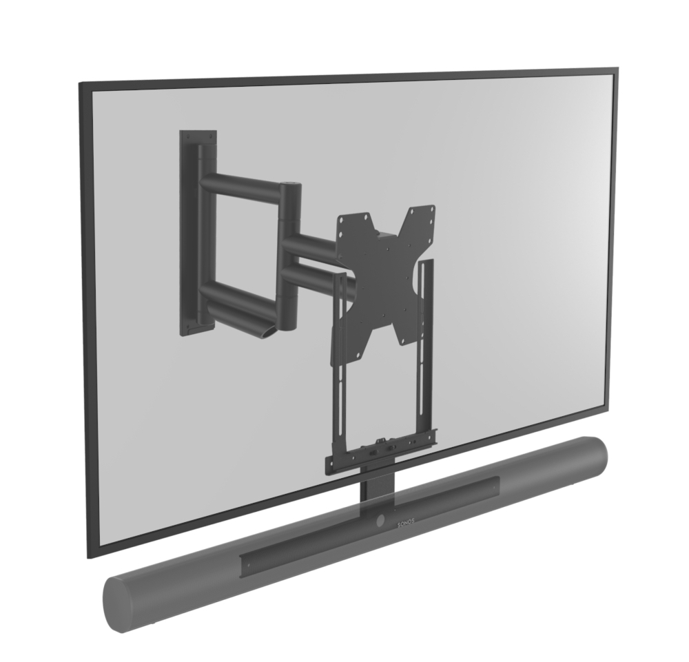 Draaibare muurbeugel geschikt voor Sonos Arc zwart & televisie