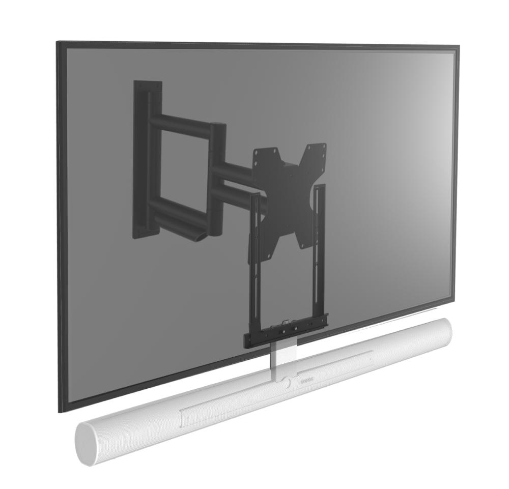 Draaibare muurbeugel geschikt voor Sonos Arc wit & televisie
