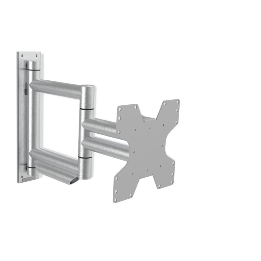 WMV8001 Design Brushed Single - Handgeborsteld Aluminium tv muurbeugel